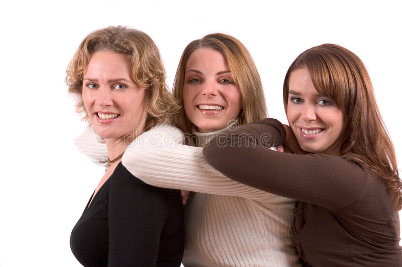 Three girlfriends stock photos