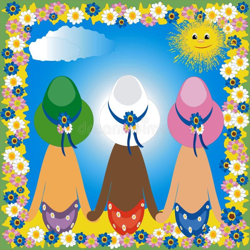 Three girls vector illustration