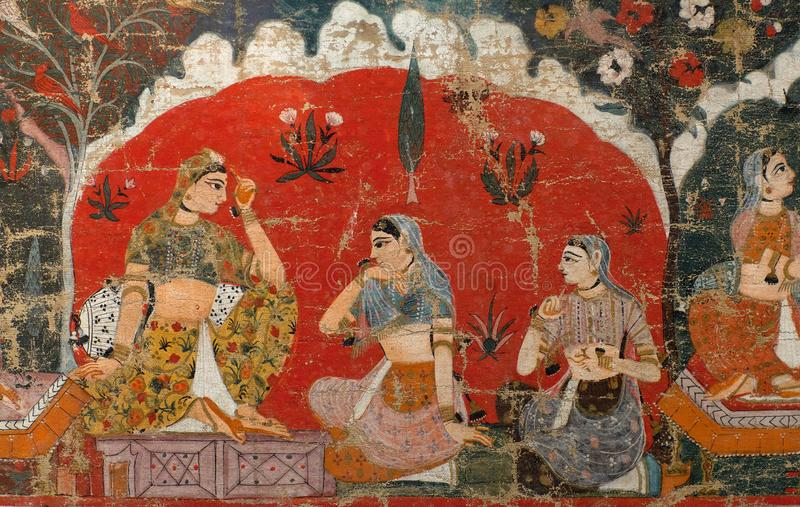 Ancient Nepalese painting. Three girls - ancient famous Nepalese painting in Royal palace at Durbar Square in Patan, Nepal. Mid-17th century stock photos