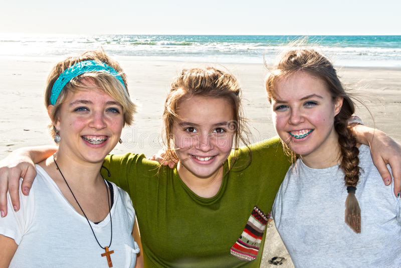 Three Girls at the Beach. Three Beautiful Girls Together at the Beach stock photo