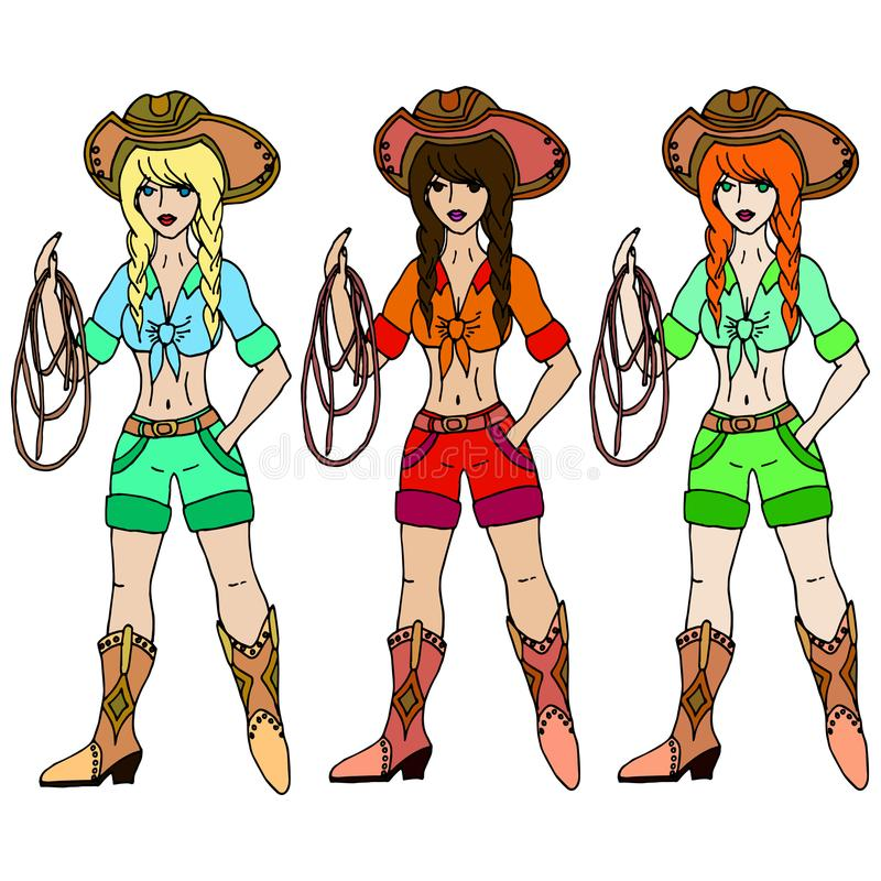 Free Three Girls Cowgirl With Lasso. Vector Illustration. Isolated On Stock Photography - 106727022