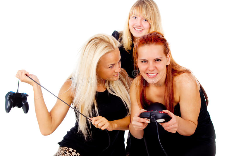 The three girls cursing because of video games