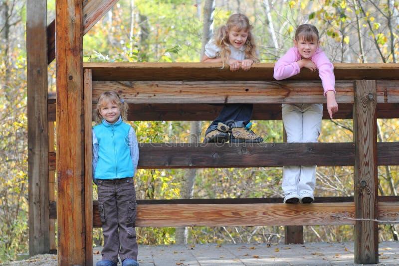 Three girls hiking stock photo