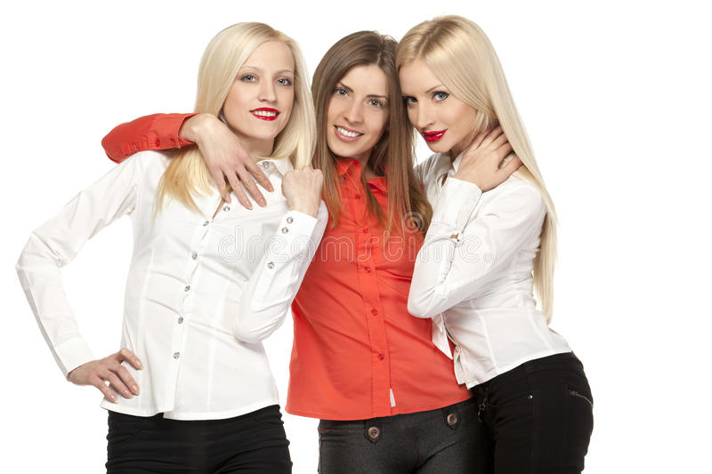 Three Girls Hugging Stock Photography