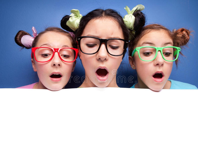 Download Three girls looking down stock image. Image of copyspace - 21203417