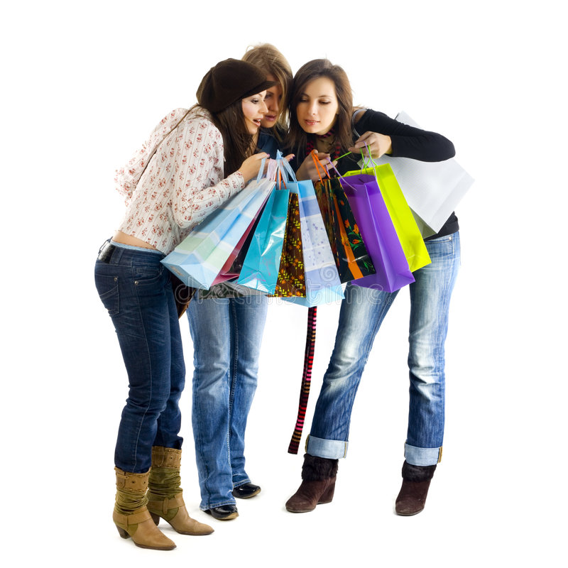 Three Girls Out Shopping. Royalty Free Stock Photos