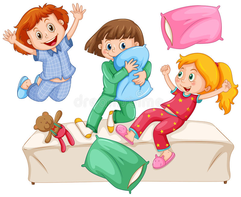 Three girls playing pillow fight at the slumber party stock illustration