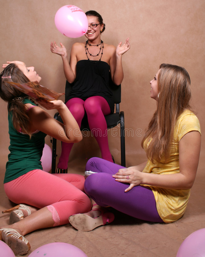Free Three Girls Playing With Balloons Royalty Free Stock Photo - 7950965