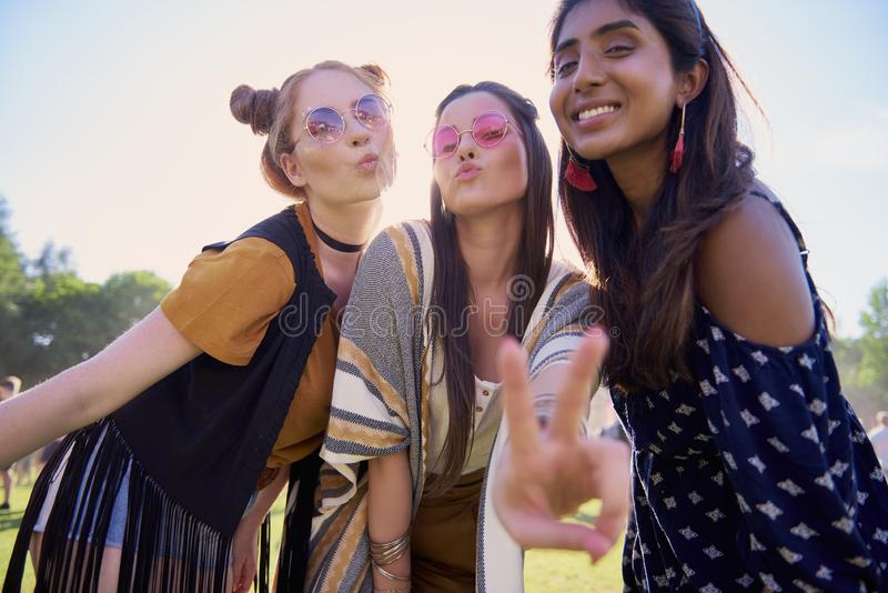 Three girls spending great time outdoors royalty free stock photo