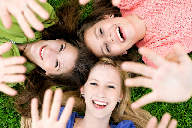 Download Three girls waving hands stock image. Image of friendship - 20843947