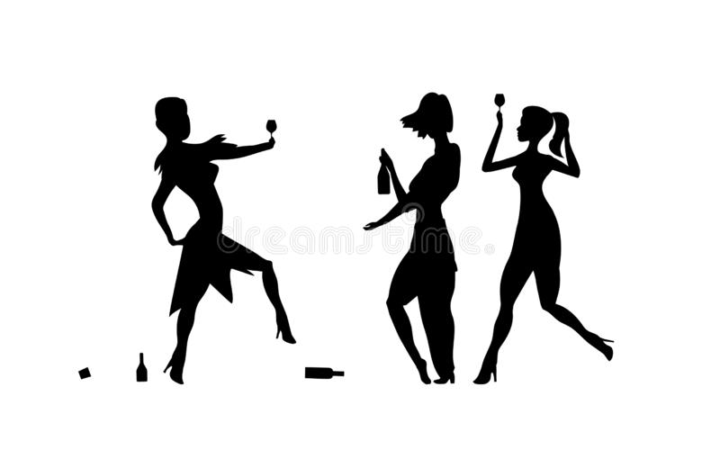 Three Girls, womens. Ladys drinking. Drunk people, drunk party event, vector silhouettes. Bachelor holiday, illustration on white. Background. Stag party. Eps vector illustration
