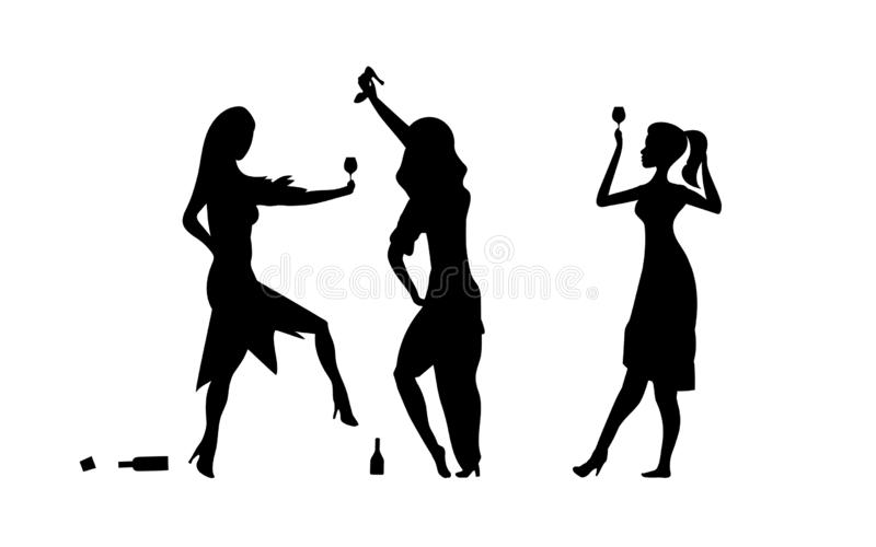 Three Girls, womens. Ladys drinking. Drunk people, drunk party event, vector silhouettes. Bachelor holiday, illustration on white. Background. Stag party. Eps stock illustration