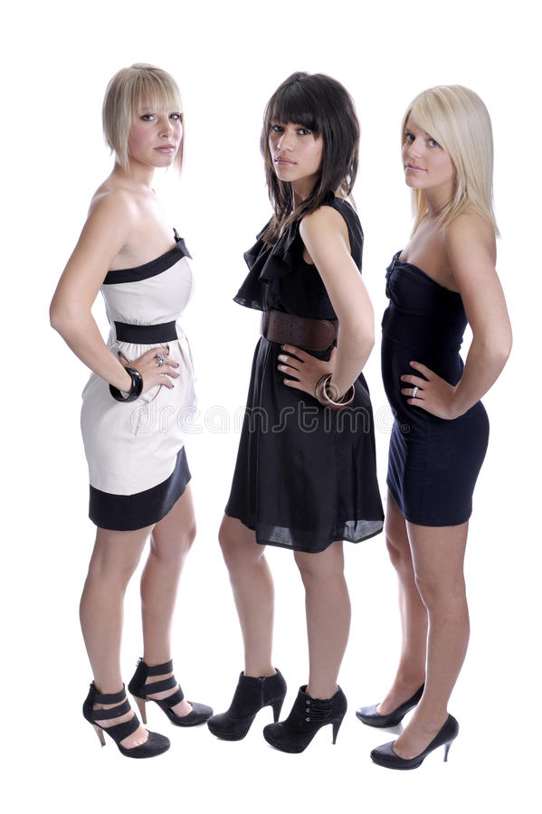 Download Three Glamour Female Friends Stock Photo - Image of black, blue: 19612926