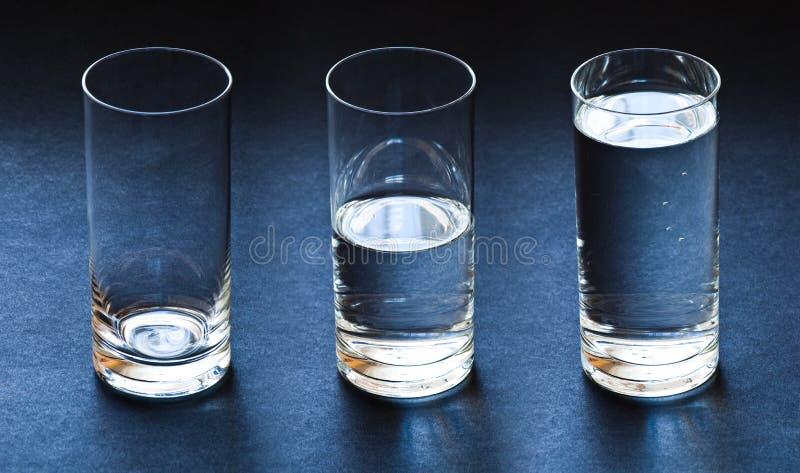 Three glasses stock photos
