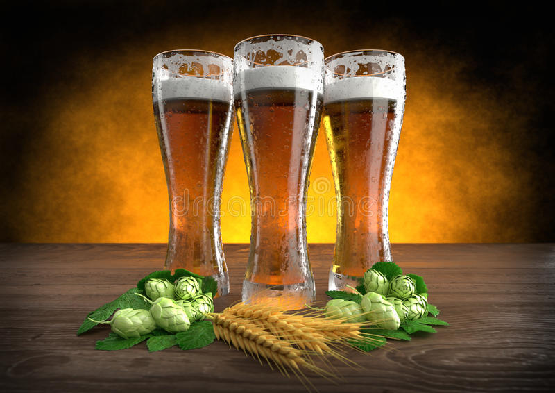 Three glasses of beer with barley and hops - 3D render. Three glasses of beer with barley and hops on wooden desk - 3D render royalty free illustration