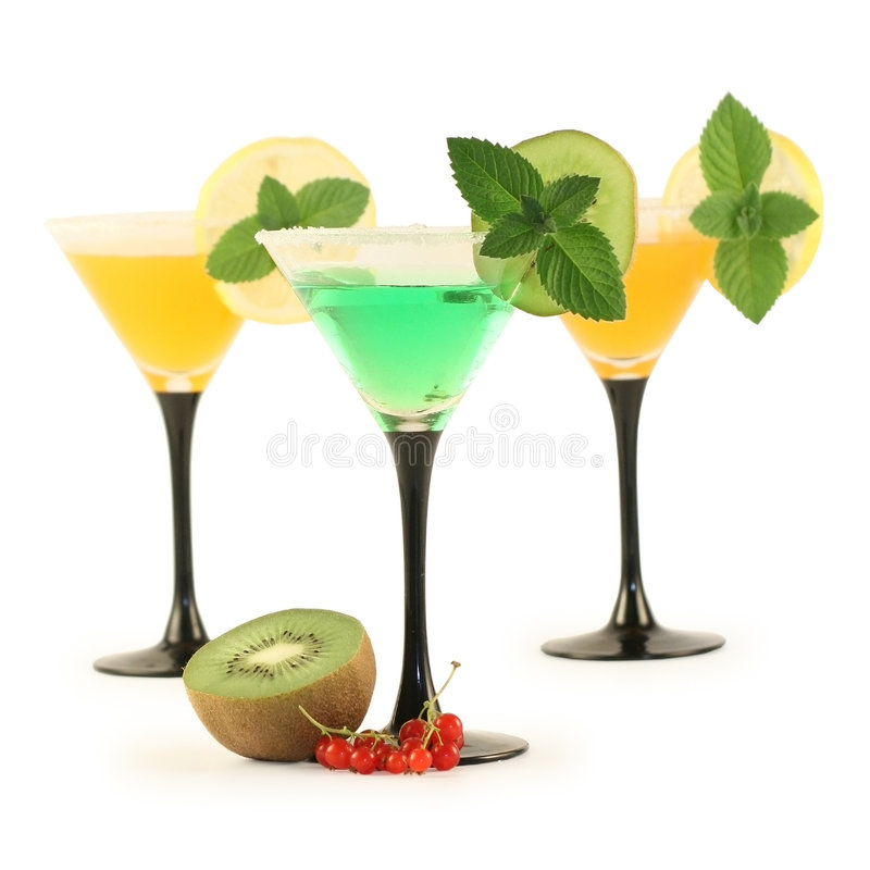 Three glasses with cocktails. royalty free stock images