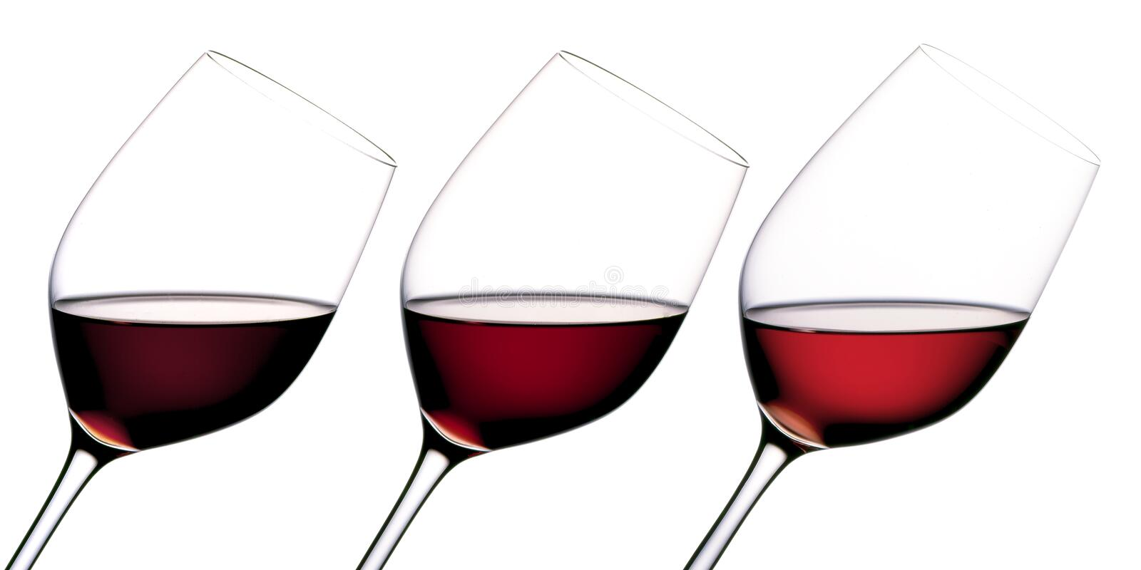 Three glasses of wine stock photo