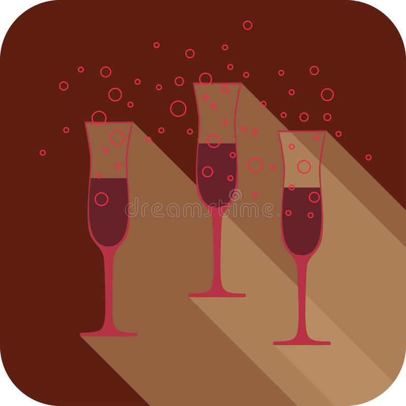 Three glasses of wine in trendy color marsala. Flat design stylized, party drink icon. The best for your design, flyers, coasters, prints. Vector illustration vector illustration