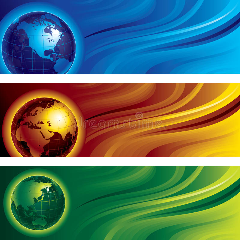 Three globes. Three horizontal banners with globes on abstract backgrounds. Eps8. CMYK. Organized by layers. Global colors. Gradient used stock illustration