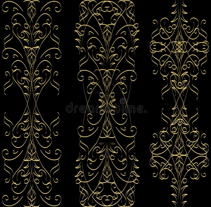 Three gold abstract line patterns on a black background stock illustration