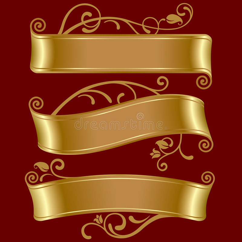 Three gold banners royalty free illustration