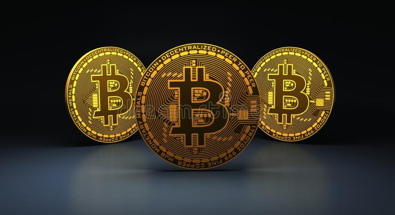 Three gold bitcoins on blue reflective surface, 3d Rendering stock illustration