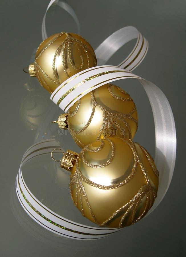 Download Three gold christmas balls stock photo. Image of three - 11362690
