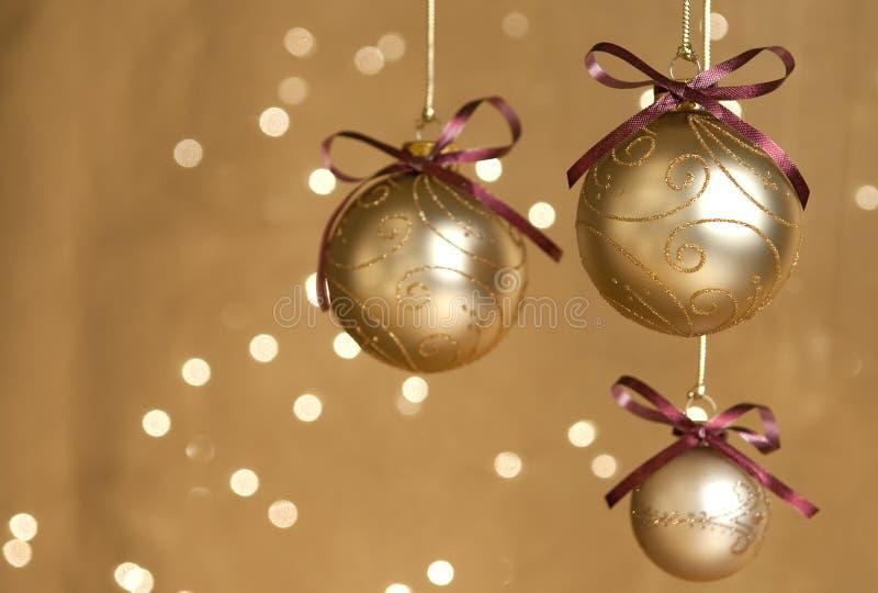Download Three gold Christmas balls stock image. Image of holiday - 11989955