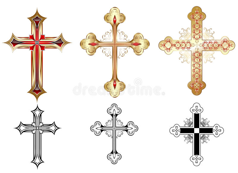 Three gold cross vector illustration