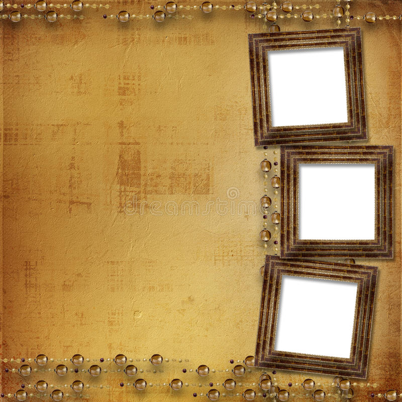 Three gold frames Victorian style royalty free illustration