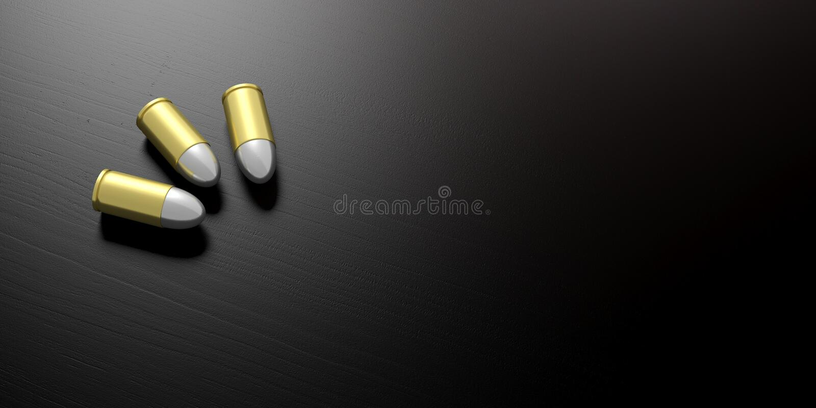 Three bullets isolated on black wooden background, copy space. 3d illustartion royalty free illustration