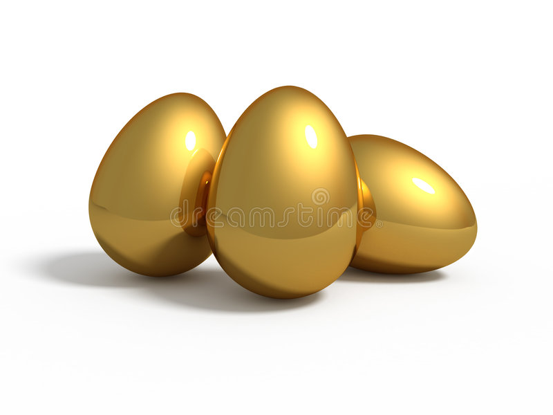 Three golden eggs vector illustration