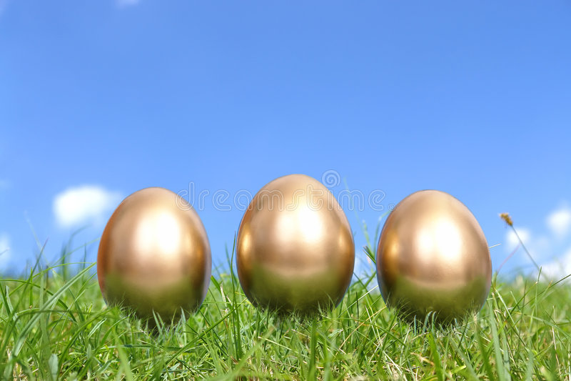 Download Three golden eggs in grass stock image. Image of eggs - 4221175