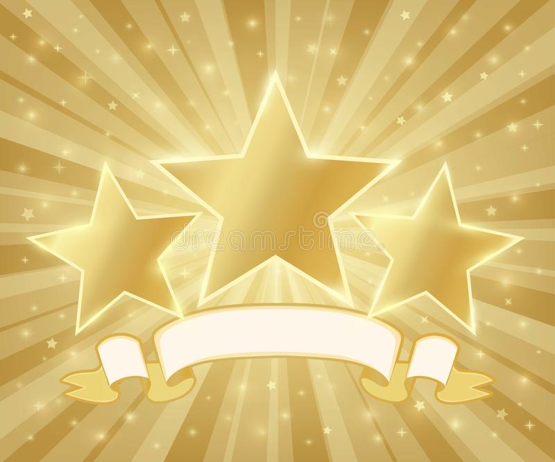Three golden stars symbol with ribbon stock illustration