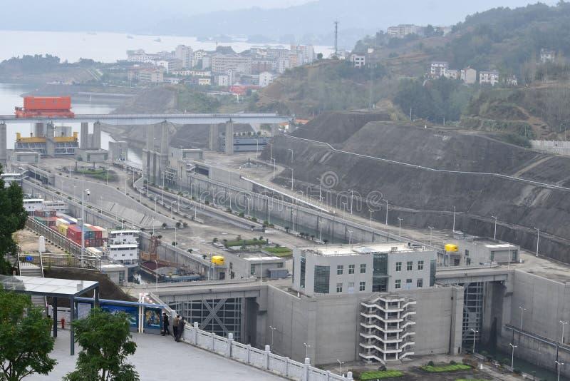 Three Gorge Dam Kina royaltyfria bilder