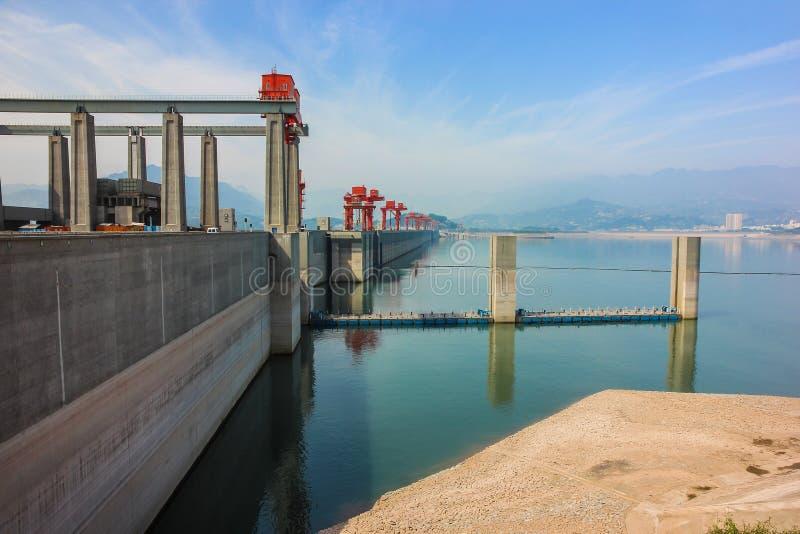 Three Gorge Dam på Yangtzet River, Kina arkivbild