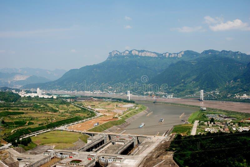 Three Gorge Dam skepplås i Kina royaltyfria foton