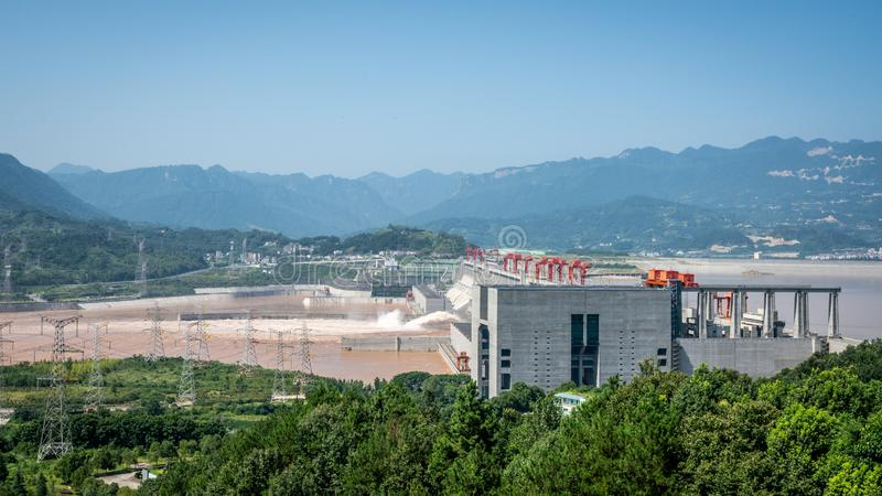 Three gorges dam view a famous hydroelectric dam during summertime in Yichang Hubei China. Three gorges dam view a famous hydroelectric dam during summertime in royalty free stock image