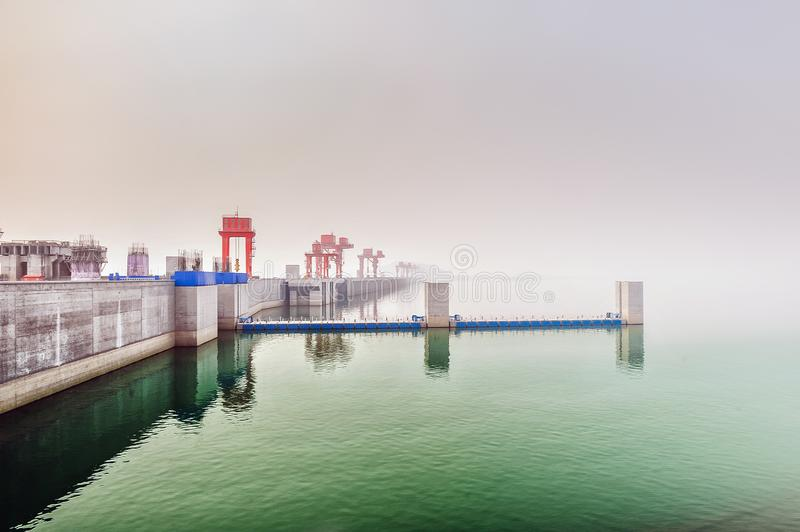 Three Gorges dam on a Yangtze river royalty free stock image