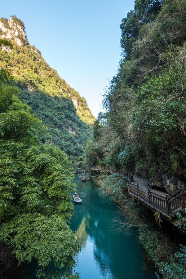 Three Gorges Tribe Scenic Spot along the Yangtze River. Located in the Xiling Gorge of Three Gorges, Yichang, Hubei, China stock photo