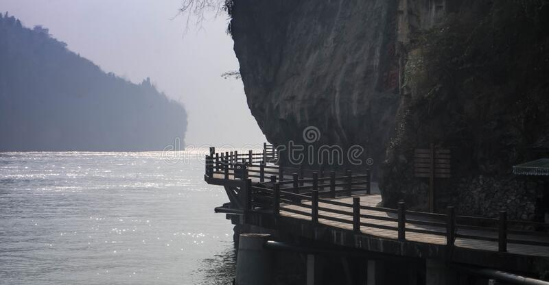 Three Gorges Tribe Scenic Spot along the Yangtze River, Yichang Hubei / China. Three Gorges Tribe Scenic Spot along the Yangtze River, This here is located at stock images