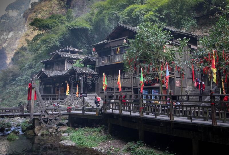 Three Gorges Tribe Scenic Spot along the Yangtze River, Yichang Hubei / China. Three Gorges Tribe Scenic Spot along the Yangtze River, This here is located at royalty free stock images