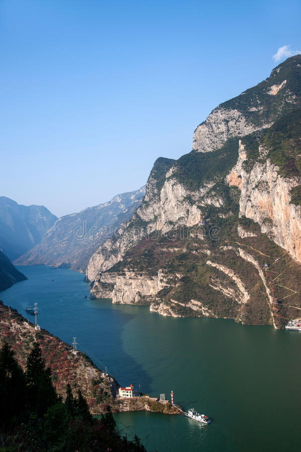 Three Gorges of the Yangtze River Valley Gorge. Wu Gorge, since Wushan County East Daning River, to the Badong County Guandu only, a total length of 46 stock image