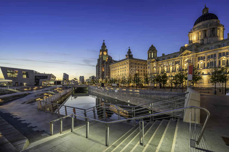 The Three Graces on Liverpools waterfront royalty free stock images
