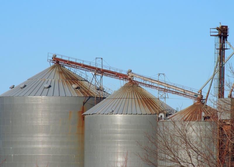Three Grain Bins Royalty Free Stock Images