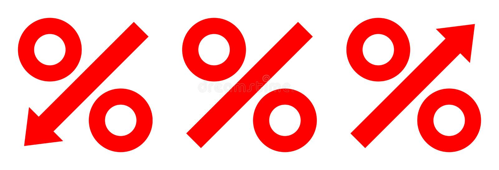Three Graphic Percent Arrows Red vector illustration