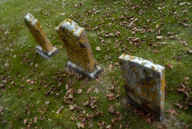 Three Gravestones Covered in Lichen stock images