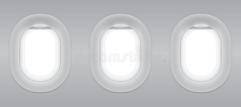 Three gray blank window plane. Three gray blank window plane, gray airplane window, gray light template, plain aircraft window white space stock illustration