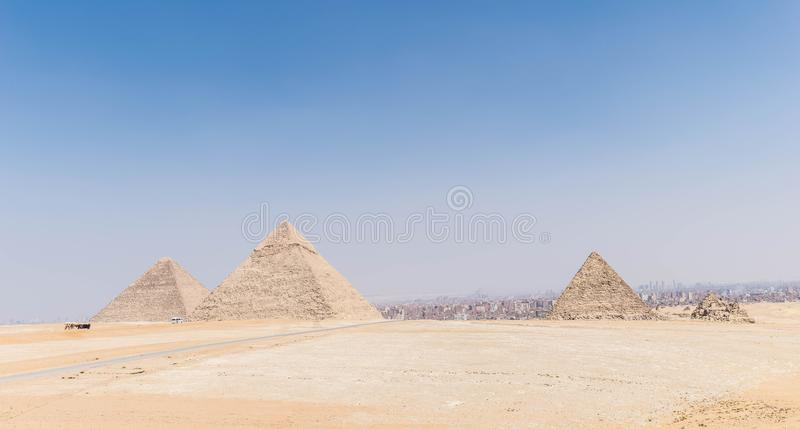 Three Great Pyramids of Egypt stock images
