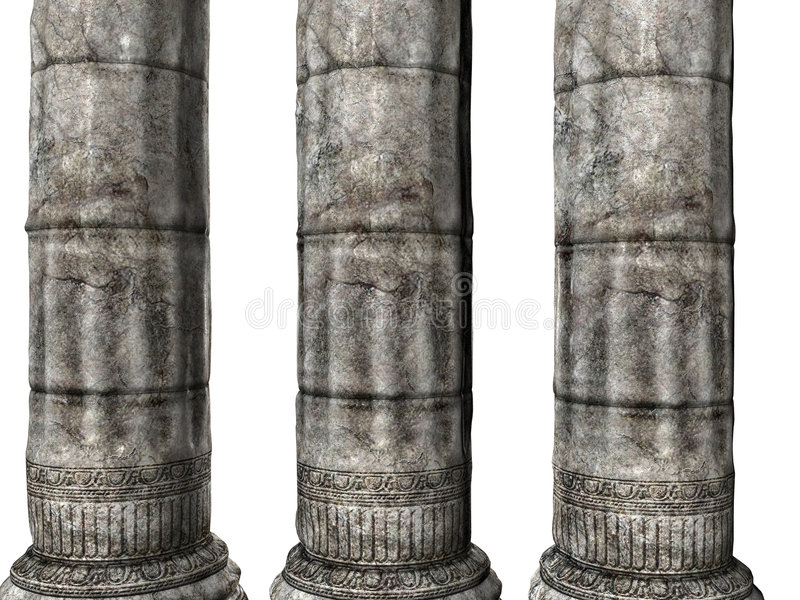 Three Greek Columns royalty free illustration